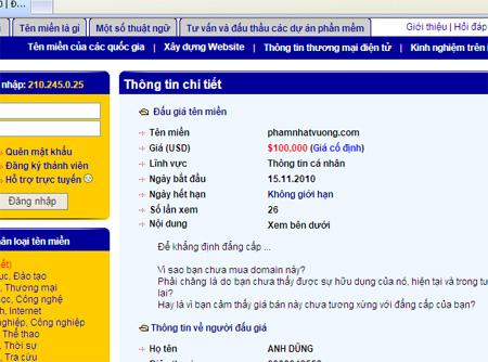 Tên miền PhamNhatVuong trên website rao bán domain
