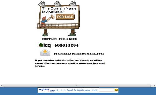 Thông tin rao bán tên miền Địa Điểm khi truy cập vào diadiem.com sau khi hacker chiếm dụng tên miền này
